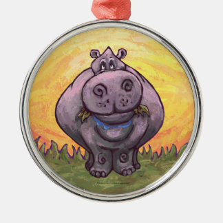 Hippopotamus Gifts & Accessories Round Metal Christmas Ornament