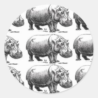 hippopotamus gold classic round sticker