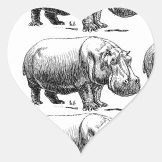 hippopotamus gold heart sticker