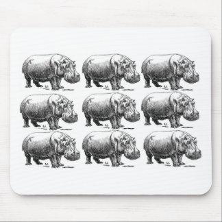 hippopotamus gold mouse pad