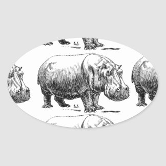 hippopotamus gold oval sticker