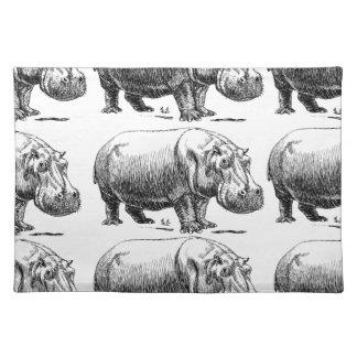 hippopotamus gold placemat