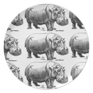 hippopotamus gold plate