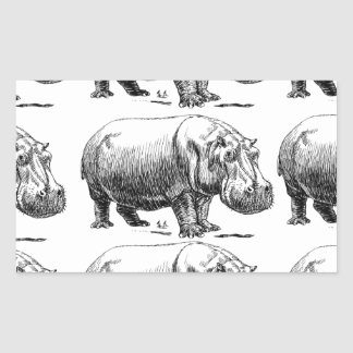 hippopotamus gold rectangular sticker