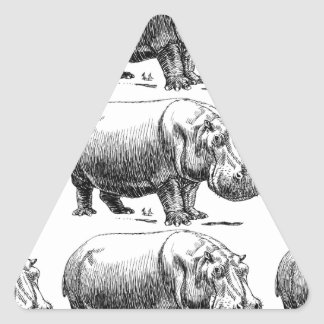 hippopotamus gold triangle sticker