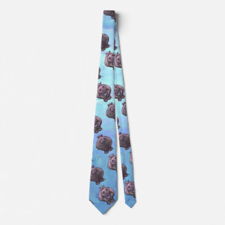 Hippopotamus Heads and Tails Patterns Tie