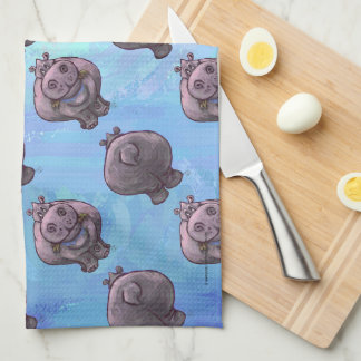 Hippopotamus Heads and Tails Patterns Towel