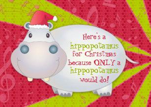 Hippo For Christmas.Hippo For Christmas Cards Zazzle Au