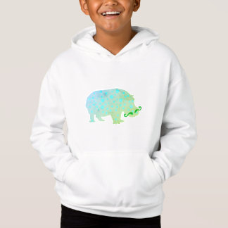 Hippopotamus Kids' Fleece Pullover Hoodie, White
