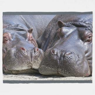 Hippopotamus on Large Fleece Blanket