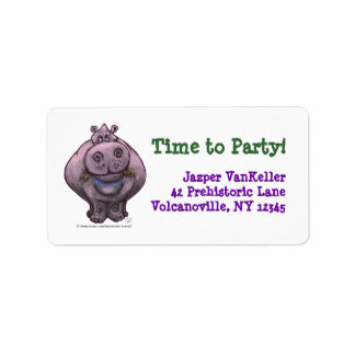 Hippopotamus Party Center Address Label