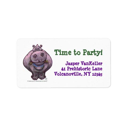 Hippopotamus Party Centre Address Label