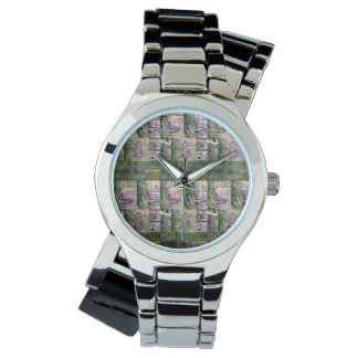 Hippopotamus Photo Collage, Ladies Silver Watch