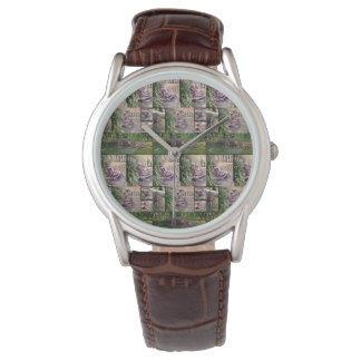 Hippopotamus Photo Collage, Mens Leather Watch