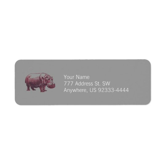 Hippopotamus Return Address Label