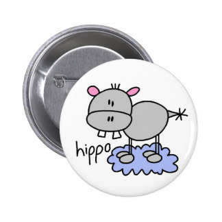 Hippopotamus Stick Figure Button