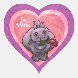 Hippopotamus Valentine's Day Heart Sticker