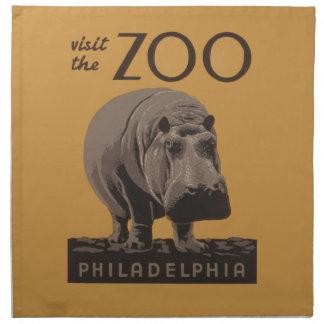 Hippopotamus Vintage WPA Zoo Poster Philadelphia Napkin