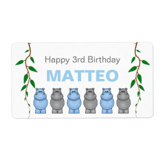 Hippos Birthday Party Favor or Water Bottle Label Shipping Label