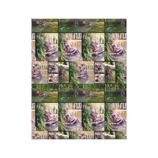Hippos In A Photo Collage, Canvas Print