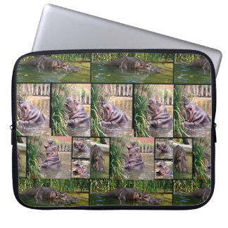 Hippos In A Photo Collage, Laptop Sleeve