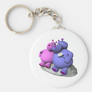 hippos in love basic round button key ring