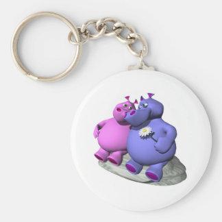 hippos in love keychain