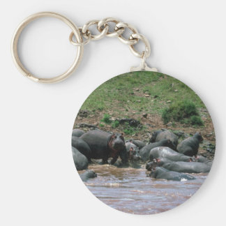 Hippos - In River Basic Round Button Key Ring