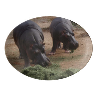 Hippos Porcelain Serving Platter