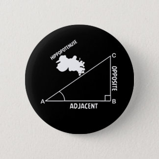 Hippotenuse Hypotenuse Hippo Trig Math Teacher 6 Cm Round Badge