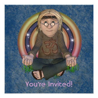 Hippy 60 s Square Party Invitations
