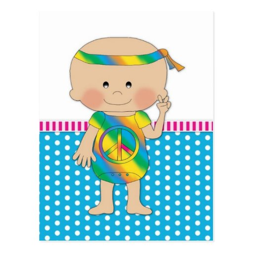 Hippy Baby Blue Postcard