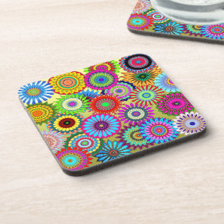 Hippy Chic Psychedelic Floral Coasters
