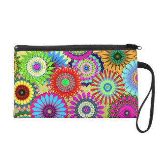 Hippy Chic Psychedelic Floral Wristlet