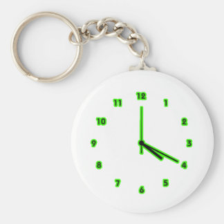 Hippy clock outline basic round button key ring