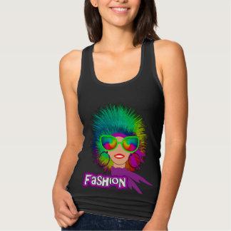 Hippy Fashion Big Hair Big Glasses Girl Graphic Singlet