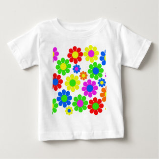 Hippy Flower Collage Baby T-Shirt