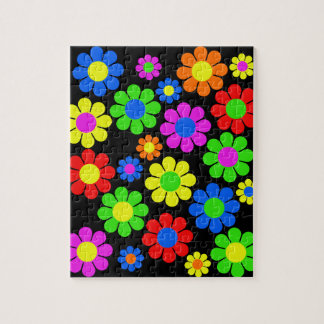 Hippy Flower Collage Jigsaw Puzzle