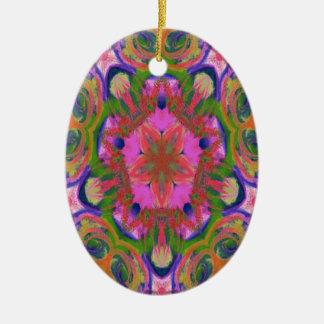 hippy flower design ceramic oval decoration