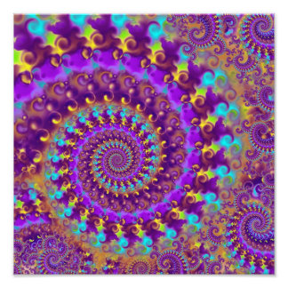 Hippy Fractal Pattern Purple Turquoise & Yellow Photographic Print