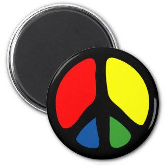 Hippy Groovy Peace Symbol 6 Cm Round Magnet