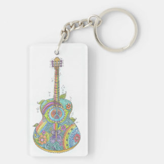 Hippy Guitar Keychain