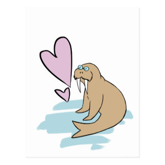 Hippy Love Walrus Postcard