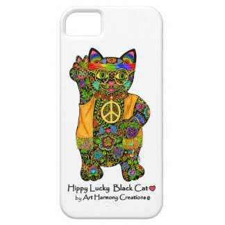 Hippy Lucky Black Cat Phone Case iPhone 5 Cases