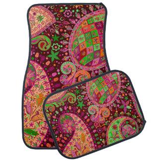 Hippy Peace Retro Hand Colorful Boho Car Mat