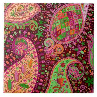 Hippy Peace Retro Hand Colorful Boho Tile