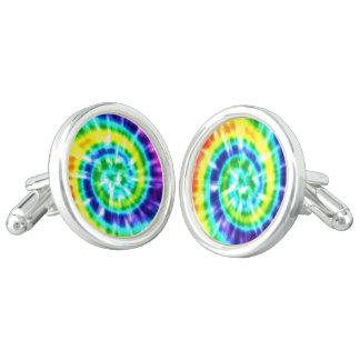 Hippy Peace Retro Tie Dye Colorful Boho Cufflinks