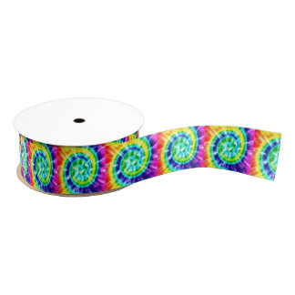 Hippy Peace Retro Tie Dye Colorful Boho Grosgrain Ribbon
