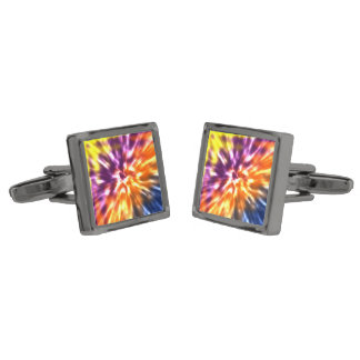 Hippy Peace Retro Tie Dye Colorful Boho Gunmetal Finish Cufflinks