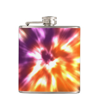Hippy Peace Retro Tie Dye Colorful Boho Hip Flask